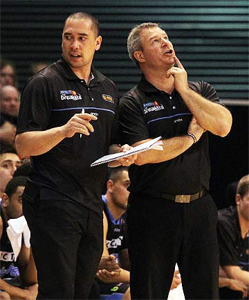 TOUGH TIMES: Breakers coach Dean Vickerman, right, and assistant coach Paul Henare have endured a very tough season.