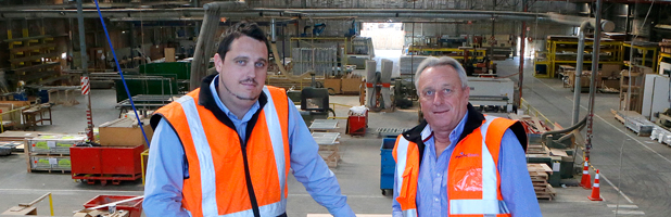 MAJOR JOB: Pacific Doors general manager Michael Pearson, left, and managing director Derek Pearson  on  the factory floor at the company's Wellington plant.