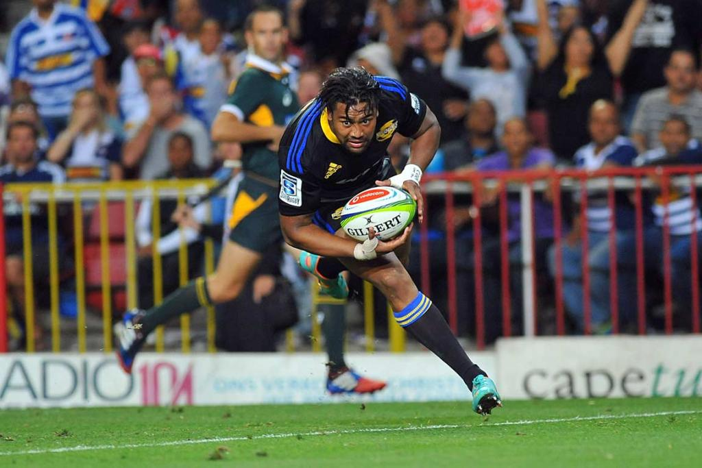 Julian Savea crosses the line to score against the Stormers.
