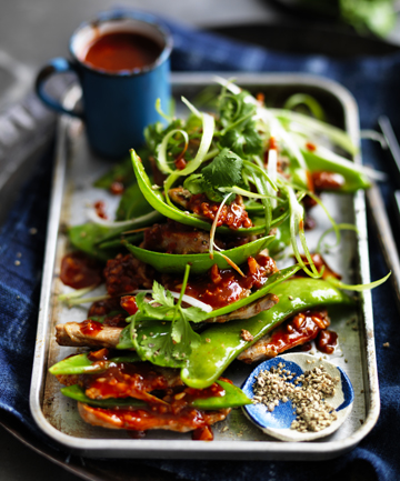 TASTE EXPLOSION: Neil Perry's stir-fried pork with hot bean paste.