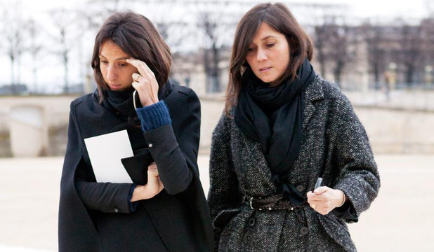 STYLE PACK: Editor of Vogue Paris Emmanuelle Alt, right, and her sidekick pound the pavement at Fashion Week.