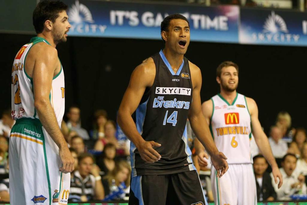Breakers forward Mika Vukona reacts with indignation at a call against him.