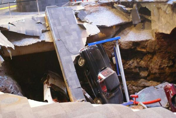 Rare Chevrolet Corvettes in a sinkhole that emerged at the National Corvette Museum in Kentucky in the US.