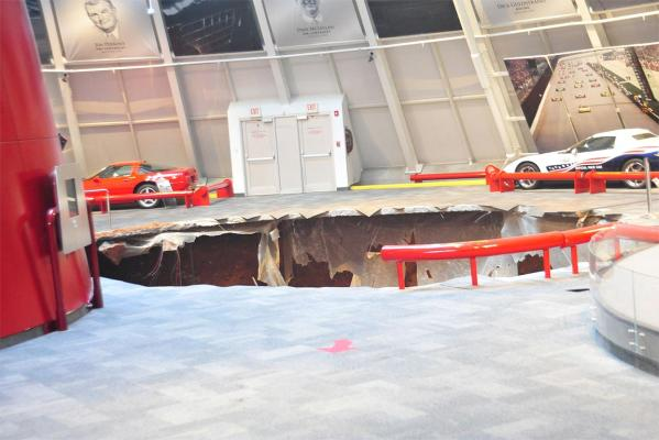 The sinkhole that swallowed a number of rare Chevrolet Corvette cars at the National Corvette Musuem in Kentucky in the US.