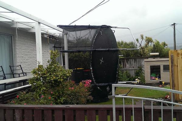 Trampoline on powerlines