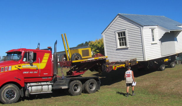 HOME TURF: Te Hihi School's original classroom, built in 1914, is moved back  to the school grounds for its centennial celebrations  from  March 7 to March 9.