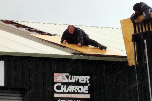 Repairs to roof at Gainsborough Motor's