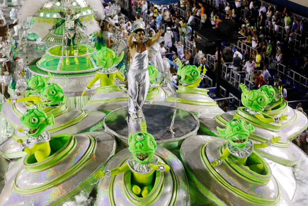 CARNIVAL: Revellers from the Mocidade Independente samba school looked to space for their float theme at the Rio Carnival parade.