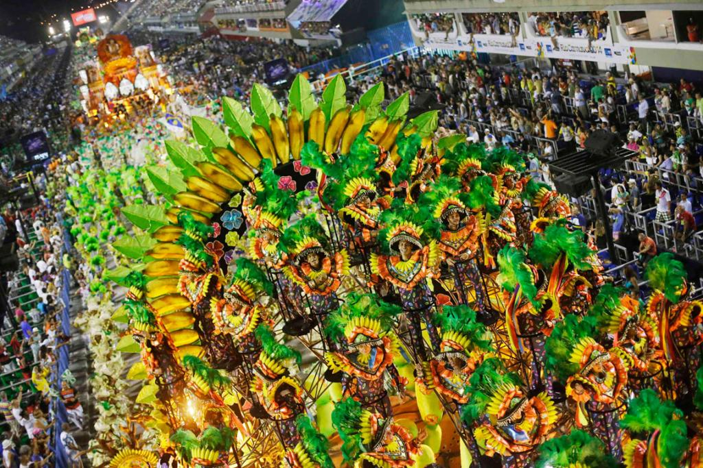 CARNIVAL: Members of Mocidade Samba School brought some Old World flare to the parade.