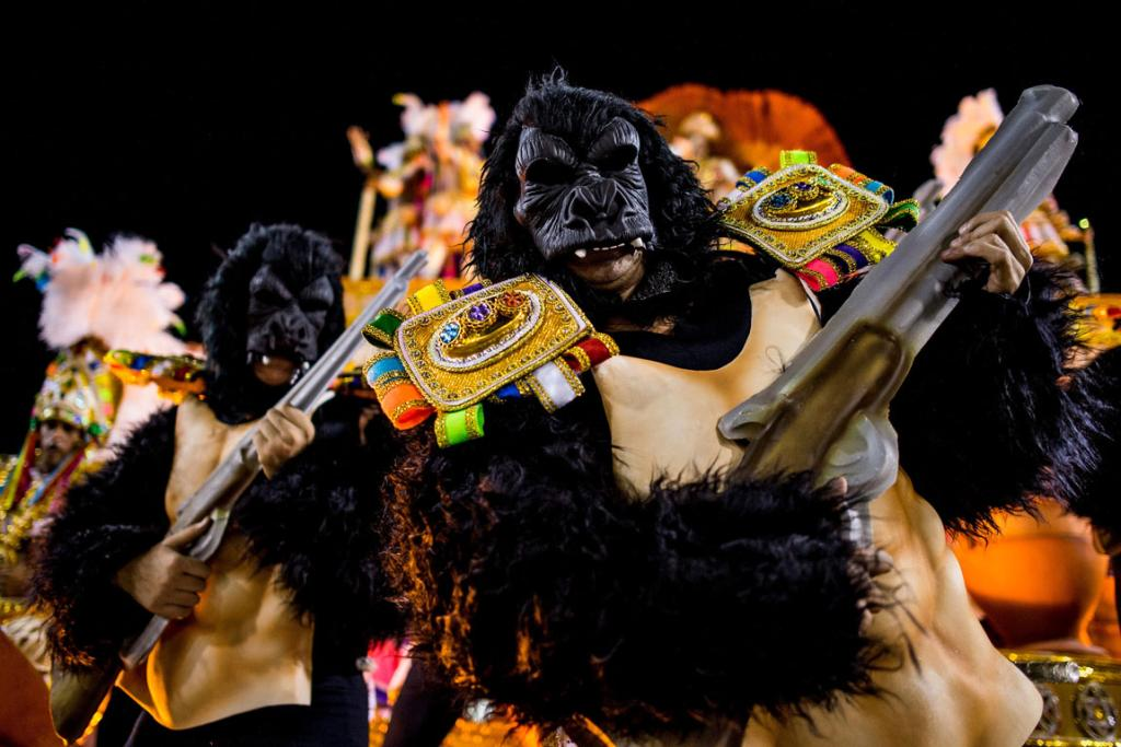 CARNIVAL: Members of Mocidade Samba School weren't monkeying around when they said they'd dress as apes.