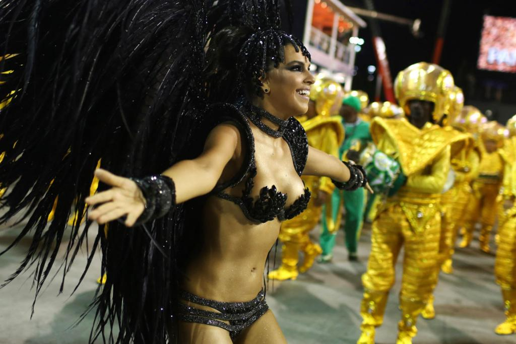 CARNIVAL: Drum Queen Mariana Rios from the Mocidade Independente samba school leads her team in the Rio Carnival.