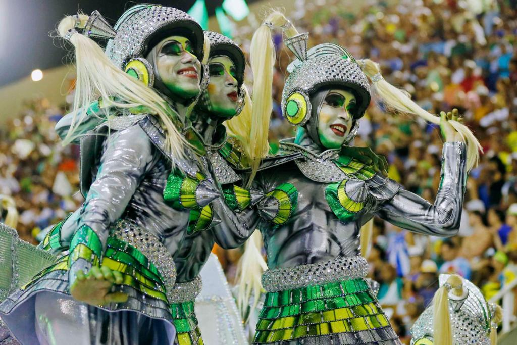 CARNIVAL: Revellers from the Mocidade Independente samba school make their alien dream a reality in Rio.