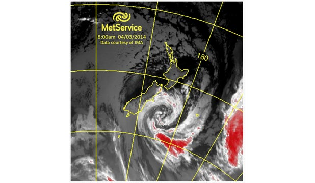 GALES: A MetService satellite image of the wintry blast.