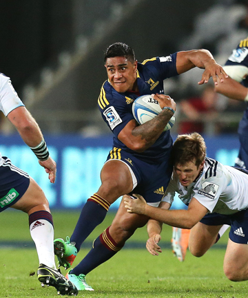 KIWI BATTLE: The Highlanders take on the Blues in round one of this year's Super Rugby competition. The Highlanders eventually prevailed 29-21.