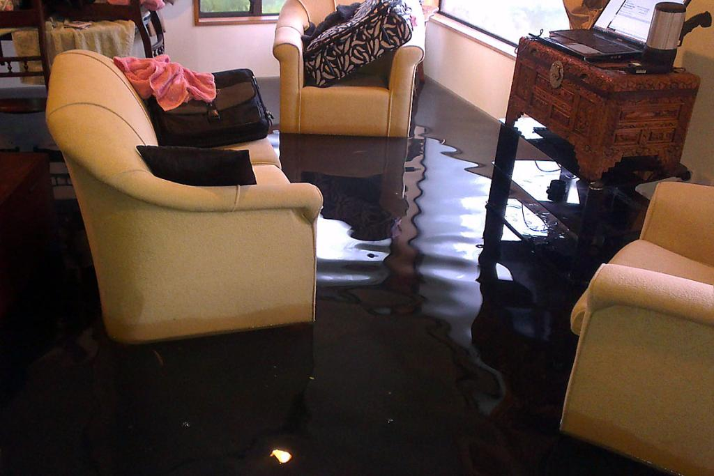 INDOOR POOL: This Francis Ave home has been inundated.