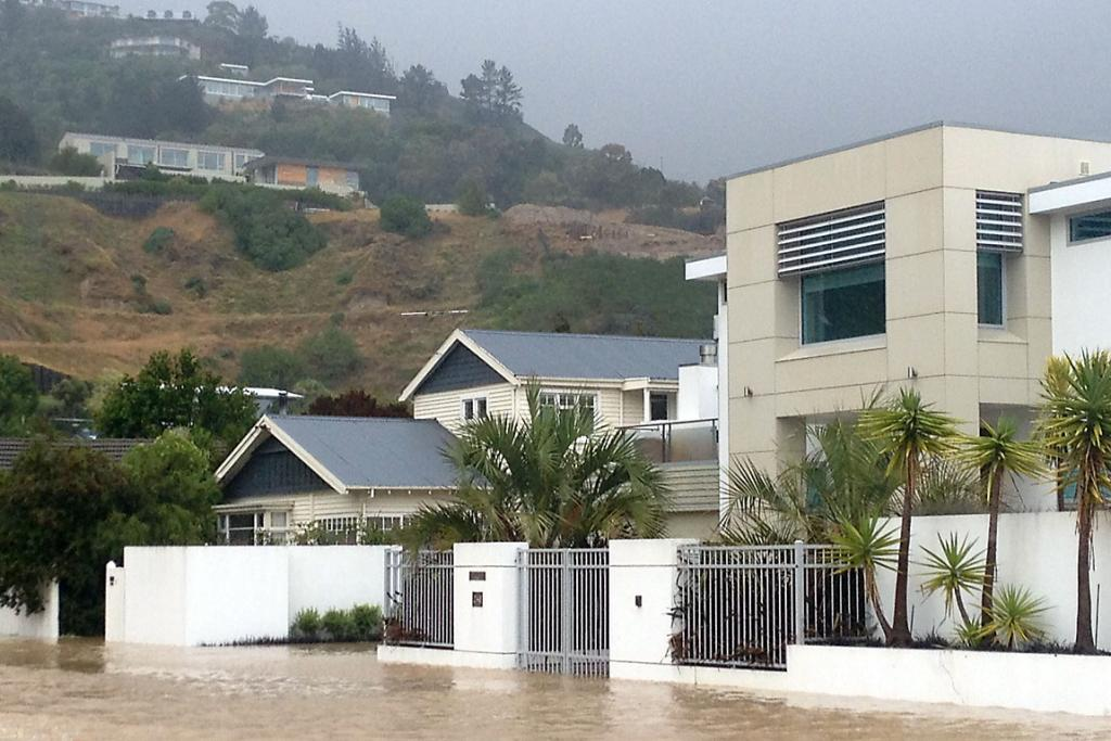 RARE SIGHT: Cliff st in Moncks Bay is under water.