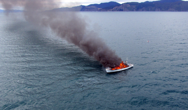 burning boat