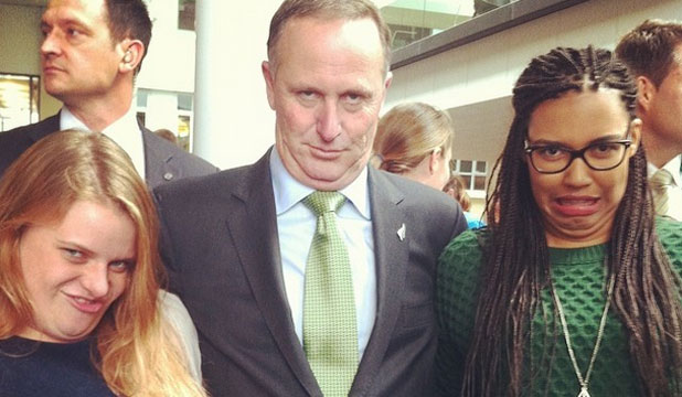 MUG SHOT: Derpface with the Prime Minister of New Zealand John Key.