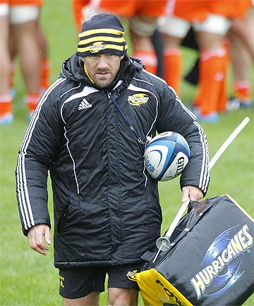 DOING THINGS HIS WAY: Hurricanes coach Mark Hammett at training yesterday.