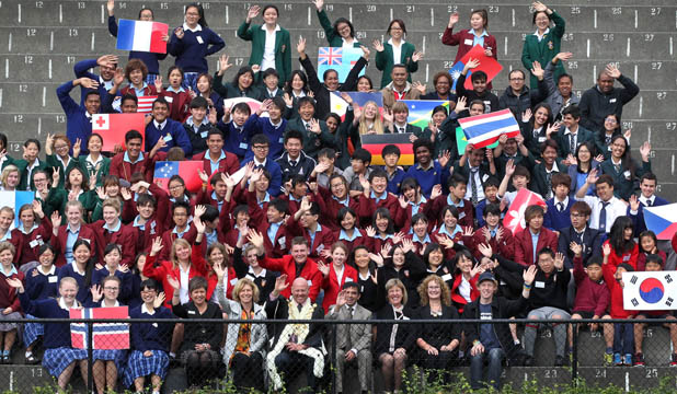 WELCOME: Primary, secondary and tertiary students from 22 countries were welcomed to South Canterbury with a special ceremony in Timaru yesterday.