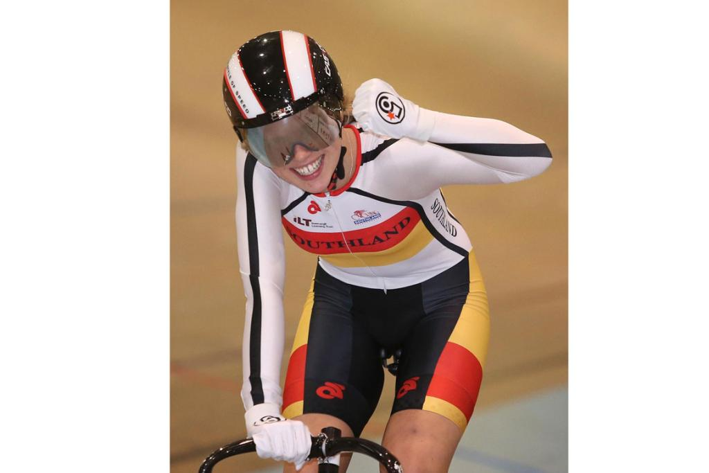 Pictured on Day 1, after winning gold in the W17 500m time trial is Southland rider Emma Cumming at the Age Group Track National Championships.