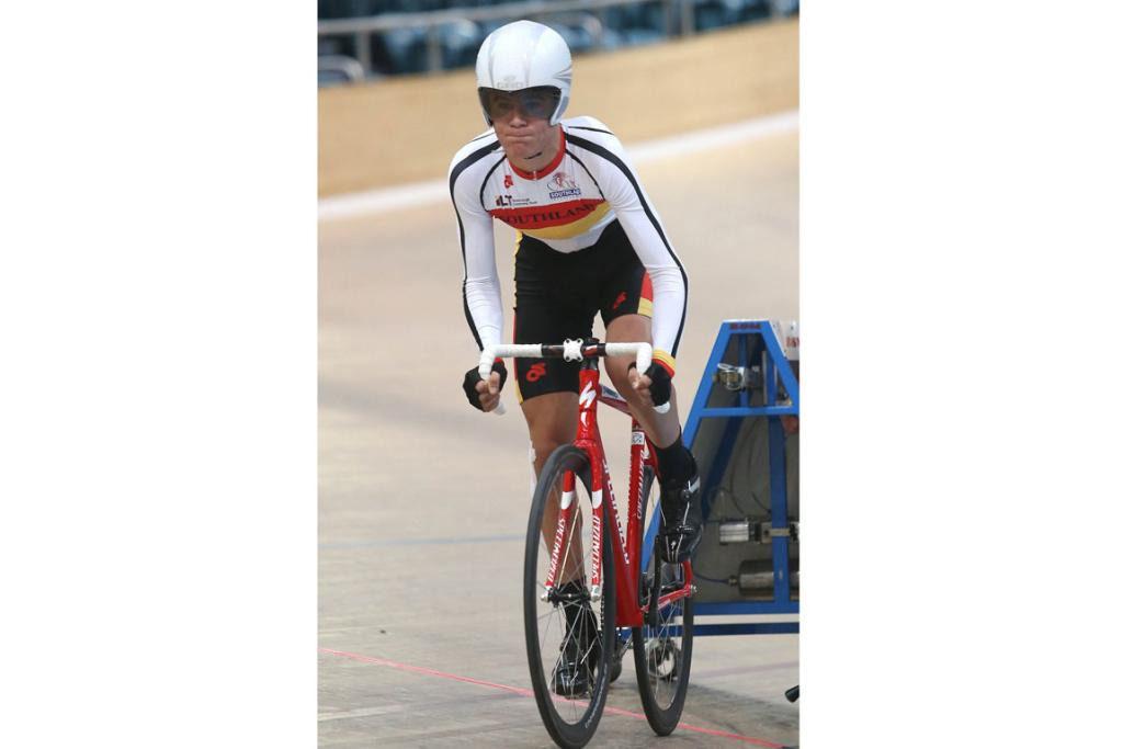 Getting out of the start gate in the M15 500m time trial is Southland rider Hamish Keast.