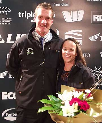 Former rugby star Kevin O'Neill and his wife, Sara, after being named Canterbury North Otago Sharemilker/ Equity Farmers of the Year.