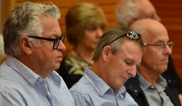 KEEN INTEREST:  Developer Dave Donaldson, left, Yachting NZ chief executive David Abercrombie, centre, and developer Peter Wall at the Takapuna Beach Reserve hearing.