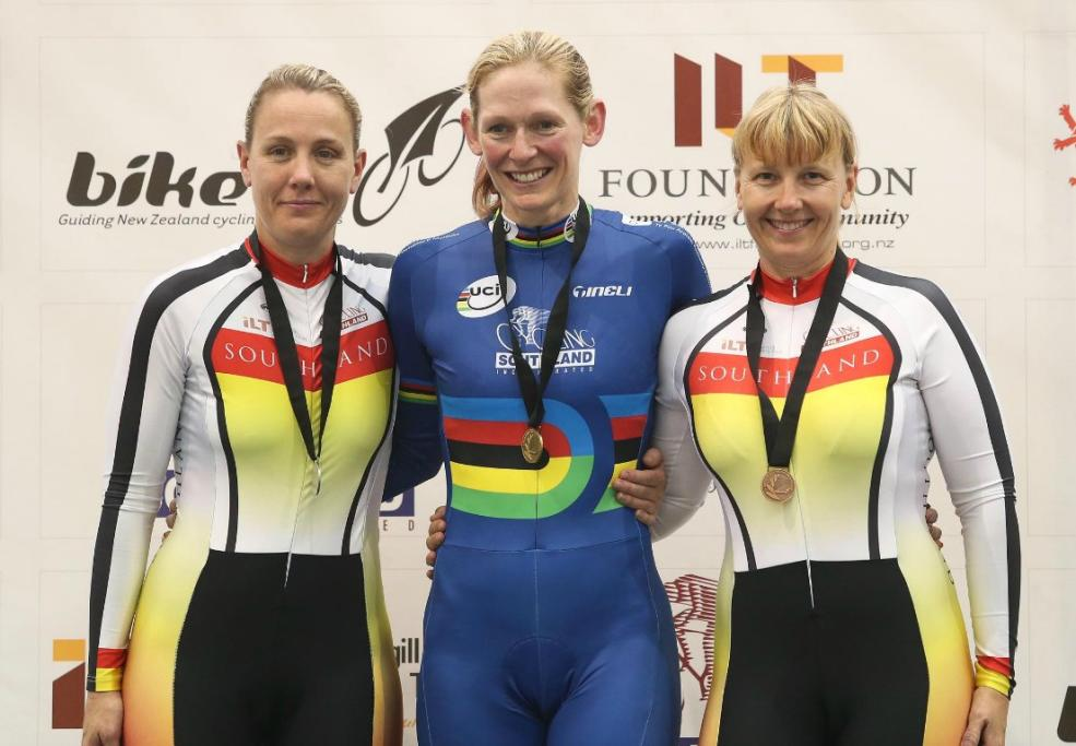 Southland riders on the podium for the Masters 1 women 2000m Individual pursuit, from left, Kylea Gough (silver), Erin Criglington (gold) & Nicola Stevens (bronze).