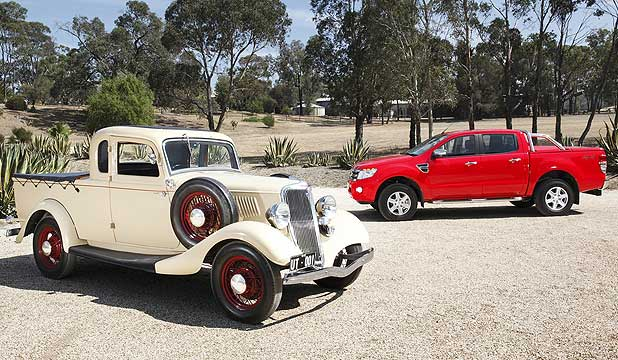 Ford is celebrating the 80th anniversary of its Australian invention of its ute, which led to the development of vehicles such as the F-Series and Ranger (background).