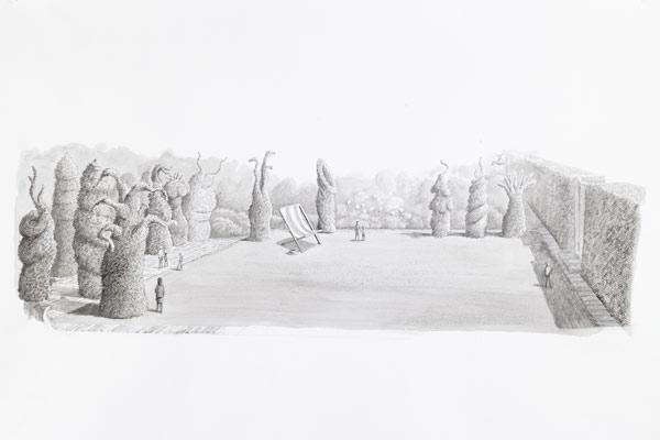 Surrealist Garden: Explores the world of fantasy and the subconscious mind with talking flowers and giant insects. Everything in the garden will be five times the normal size. Will feature giant topiary figures or ''Trons'' that may move.