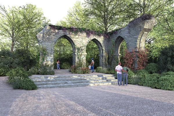PICTURESQUE GARDEN: Attempts to create a wild natural landscape with artificial historic features representing the 18th century Picturesque garden tradition. The garden will border the Waikato River.