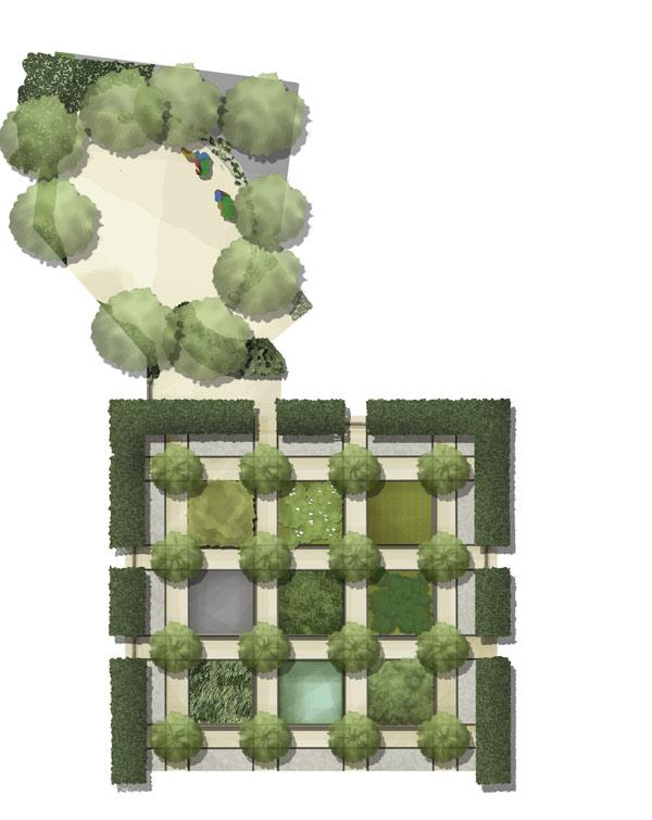 CONCEPT GARDEN: A 21st century garden that attempts to portray an idea or narrative. Specifically, the garden questions the value we put on native habitats.