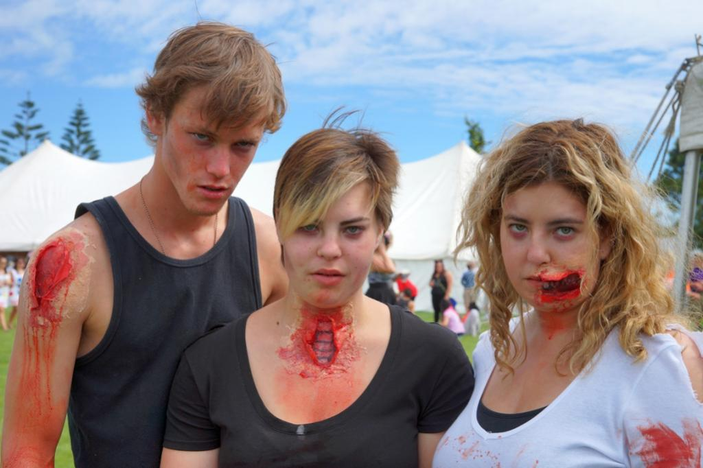 Christchurch friends Taylor Saville, 20, Sara Westwood, 18 and her older sister, Kim, 22, donned Sara's gory special effects makeup.