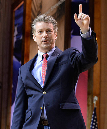 CPAC: Senator Rand Paul on stage at the Conservative Political Action Conference in Oxon Hill, Maryland.