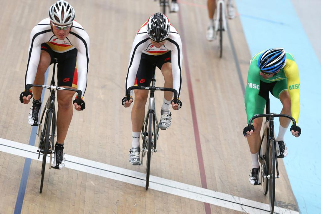 The finish-line of the Masters 1 men 10km Scratch race, from left, Michael White first, Brendan Akeroyd second and Craig Domigan third (Mid south canterbury).
