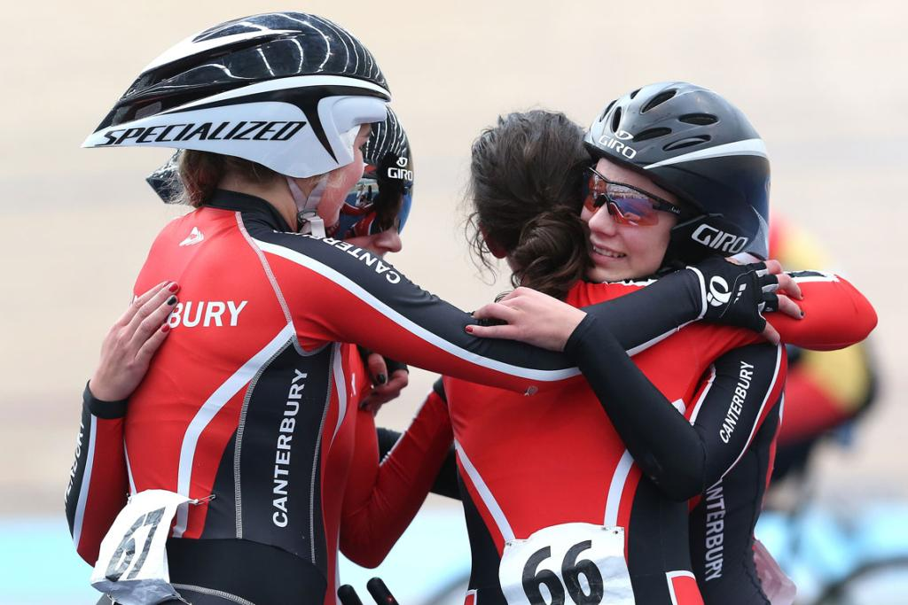 The Canterbury team after winning gold in the U17 Girls 3000m Team Pursuit.