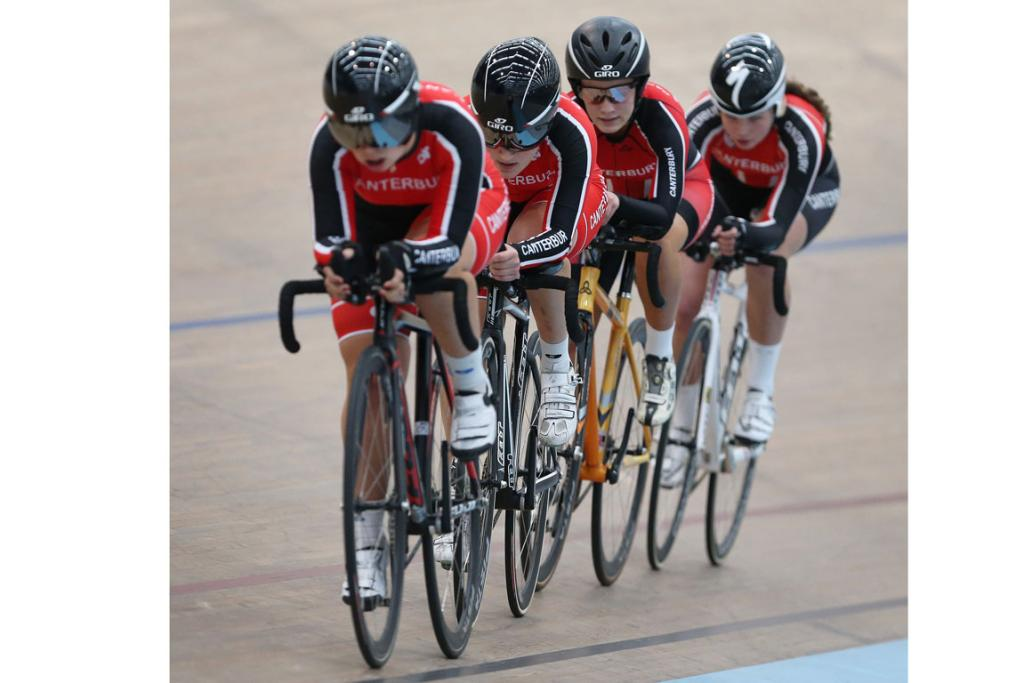 On their way to winning gold in the U17 Girls 3000m Team Pursuit are Canterbury riders, from left, Sarah McLeod, Chloe Jenkins, Phoebe McCaughan and Christine Lambley.
