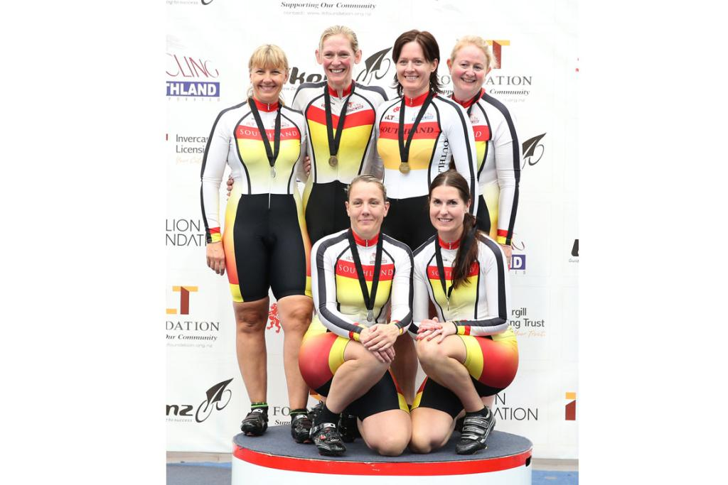 Masters 1 and 2 Womens 500m Team sprint podium, with Southland in gold, silver and bronze.