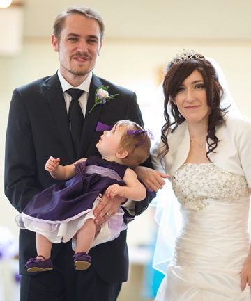 SPECIAL COUPLE: Vivian and Jack Waller with daughter Sophie on their wedding day. The couple are back from their honeymoon and are staying in a hospice.