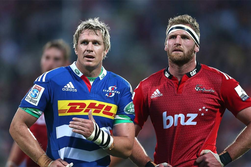 Stormers captain Jean de Villiers and the Crusaders' Kieran Read await a referee's decision during their clash in Christchurch.