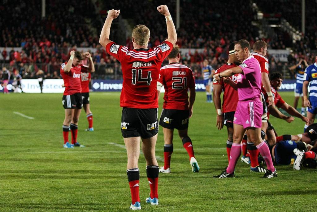 Johnny McNicholl of the Crusaders celebrates the final whistle following his side's comeback win over the Stormers.