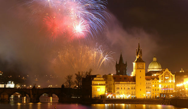FABULOUS ARCHITECTURE: Fireworks explode over the Charles Bridge and buildings in the Old Town district in celebration of the new year.