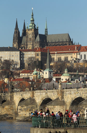 PICTURE PERFECT: Prague Castle (Hradcany) looms over Lesser Town (Mala Strana) district, Charles Bridge and the Moldau (Vltava) River.