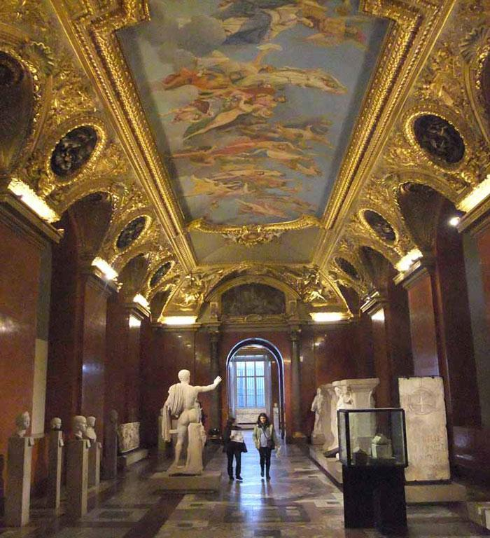 Empty galleries, the Louvre.