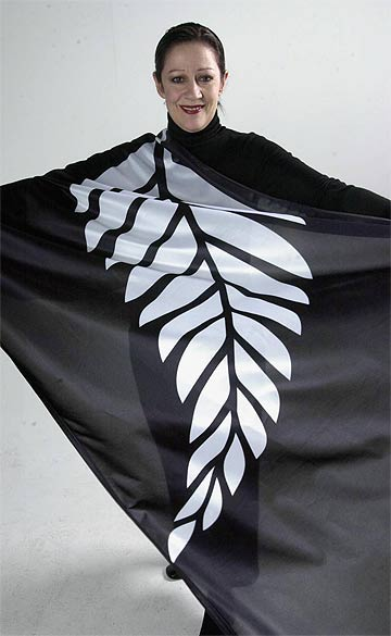 SILVER FERN: Marie Hasler in silver fern flag. She promoted a change to the country's flag in 2001.