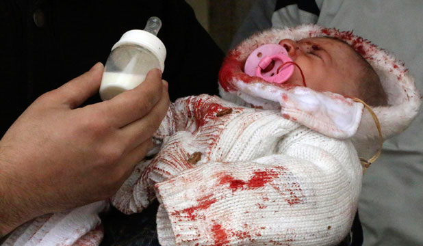 Baby in an Aleppo hospital