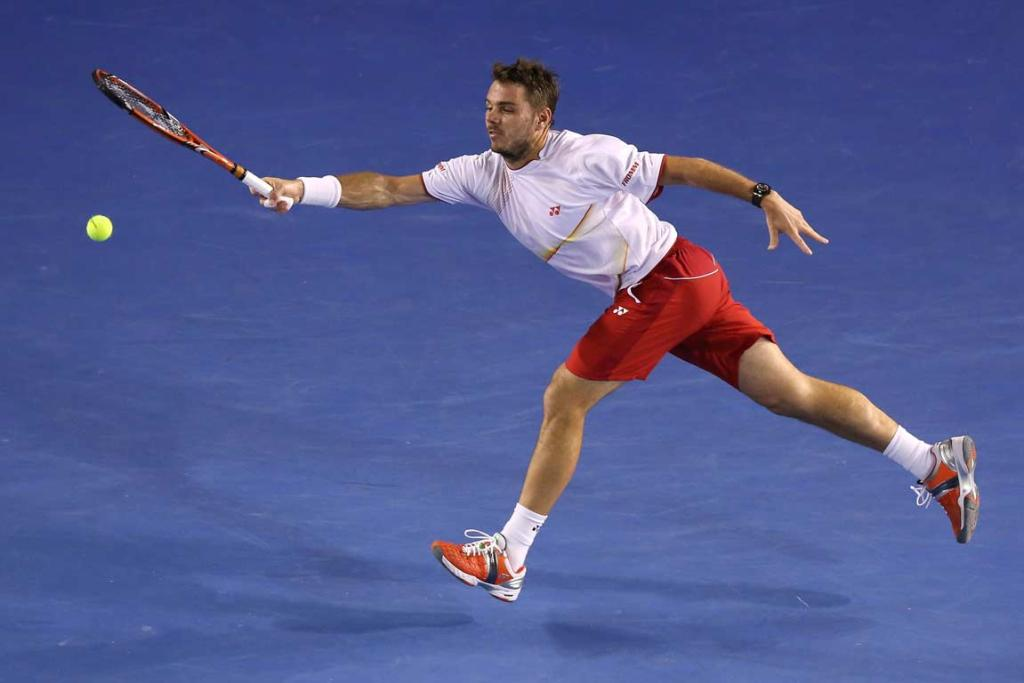Stanislas Wawrinka reaches for a forehand during the men's singles final.