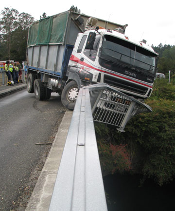 truck v bridge, south waikato