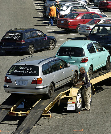 A file photo of used imports being unloaded at Lyttelton.